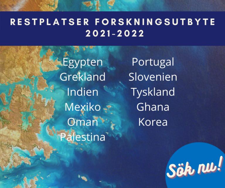 Restplatser för forskningsutbyte 2021-2022