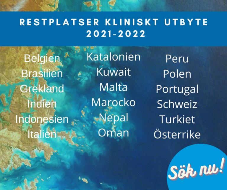 Restplatser för kliniskt utbyte 2021-2022